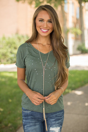 Out Of The City Distressed Blouse Olive CLEARANCE