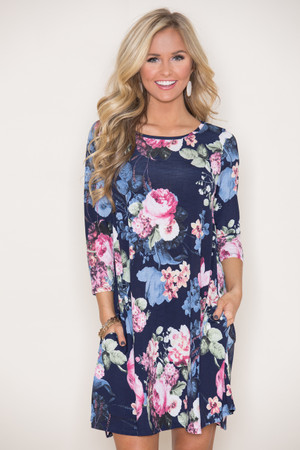 Where The Wildflowers Grow Dress Navy