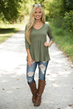 Love Above All Peplum Blouse Olive