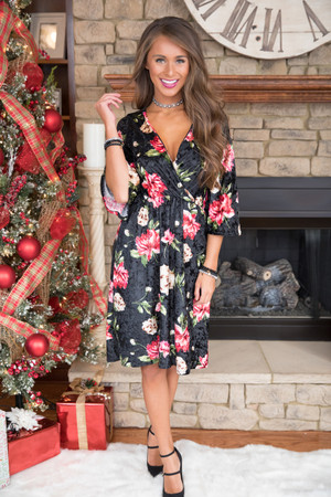 One Evening With You Floral Velvet Midi Dress CLEARANCE