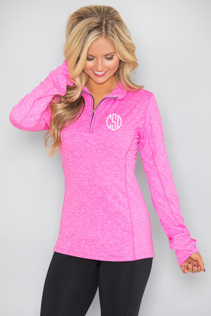 Monogrammed Space Dye Pullover Hot Pink
