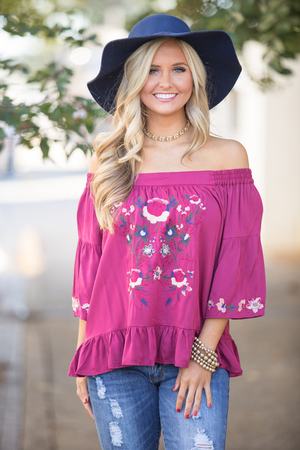 My Bold Heart Embroidered Blouse Wine