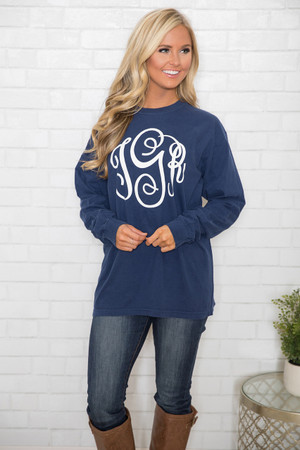 Comfort Colors Personalized Long Sleeve Tee Navy