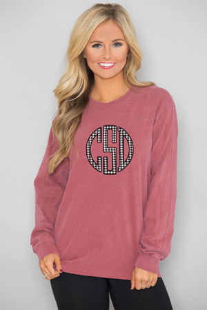 Comfort Colors Personalized Long Sleeve Tee Brick