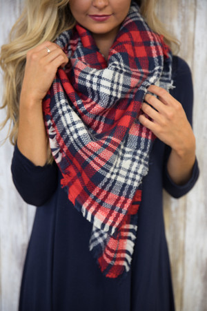 Apple Festival Plaid Blanket Scarf