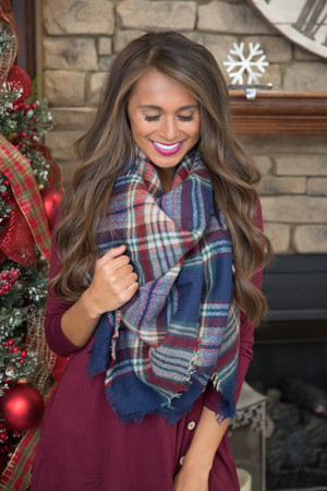 She's A Storyteller Plaid Blanket Scarf  SALE