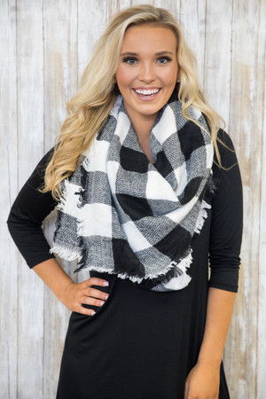 No Place Like Home Buffalo Plaid Blanket Scarf SALE
