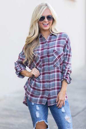 Just To Hold You Again Plaid Blouse Burgundy