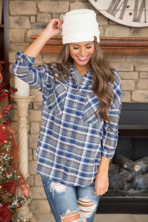 Just To Hold You Again Plaid Blouse Navy CLEARANCE