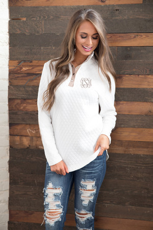 Bring On Fall Pullover White CLEARANCE