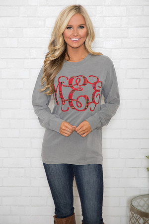 Comfort Colors Personalized Long Sleeve Tee Grey