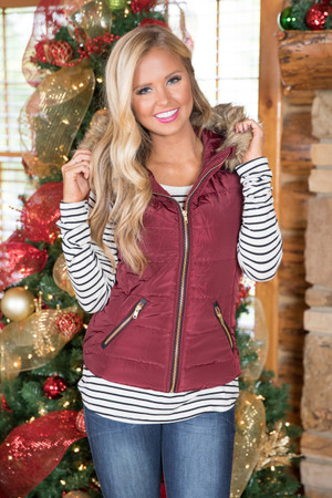 Cozy Up Puffer Vest Burgundy  CLEARANCE