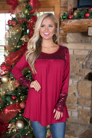 The Way You Sparkle Tonight Sequin Blouse Red
