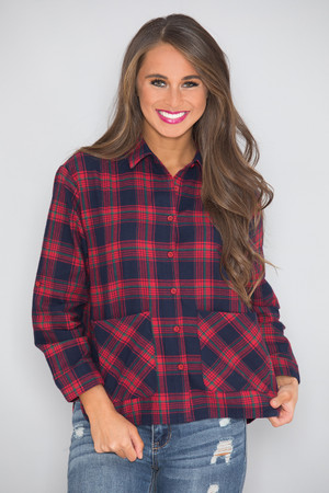 Cozy Cabin Nights Plaid Blouse Red  SALE