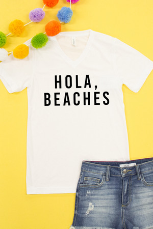 Hola Beaches V-Neck Graphic Tee