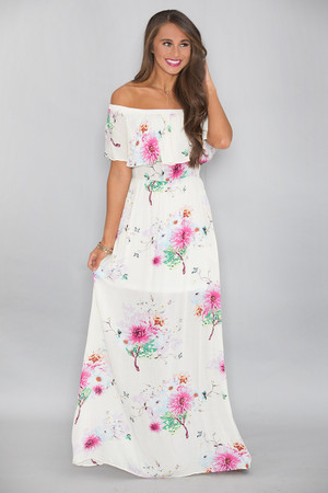 Swept Up In Your Love Floral Maxi Dress Cream