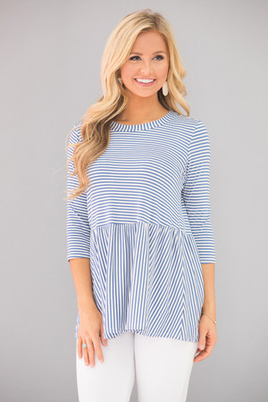 Unconditionally In Love Striped Blouse Blue