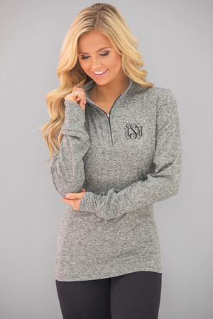 Monogrammed Space Dye Pullover Heather Black