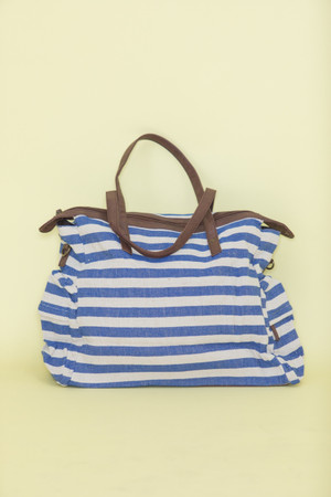 So Much To See Striped Tote Blue