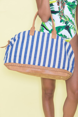 Let's Take A Trip Striped Weekender Bag