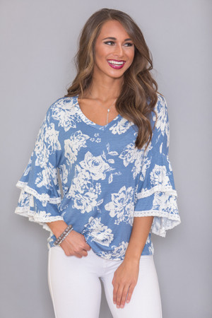 Love My Own Heart Floral Blouse Blue