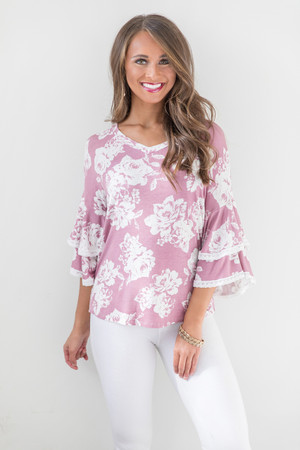 Love My Own Heart Floral Blouse Mauve