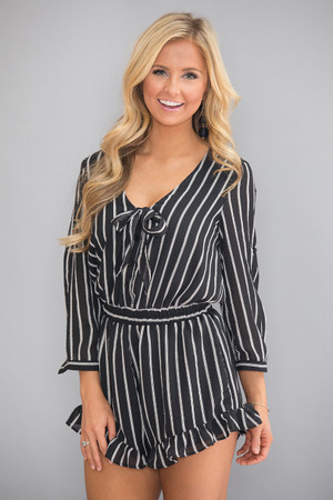 You're Just My Type Striped Romper