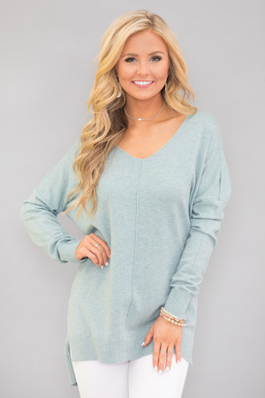 Dreaming Of Your Love Pullover Dusty Mint CLEARANCE
