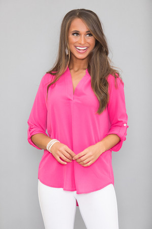 Surrounded By Beauty Blouse Fuchsia