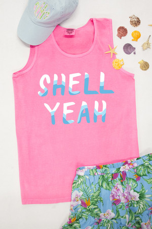 Shell Yeah Graphic Tank Neon Pink