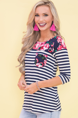 Unwind My Heart Floral Blouse Navy