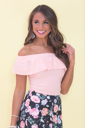 Ruffle My Heart Blouse Peach