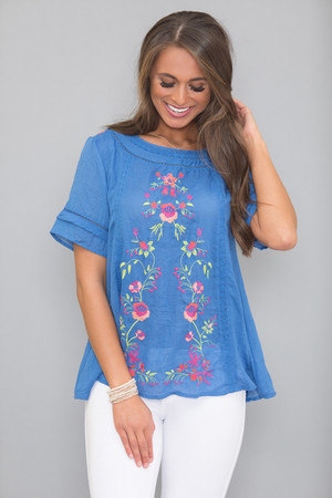 Dreaming Of Roses Floral Blouse Blue