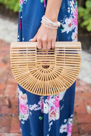 Summer Escapes Bamboo Basket Bag