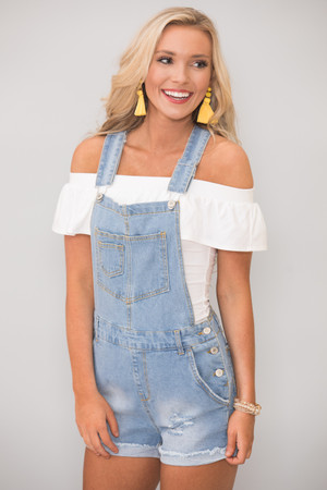 In Love With Summer Distressed Overalls