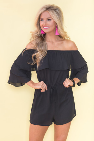 Recklessly In Love Romper Black