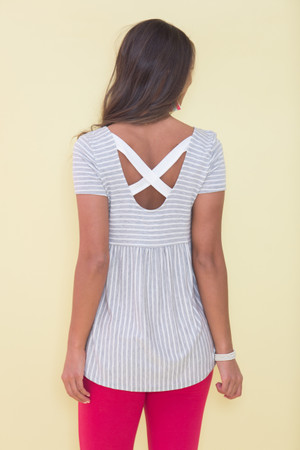 Content With This Love Striped Blouse Grey