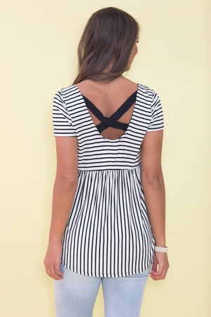 Content With This Love Striped Blouse Black