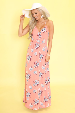 Infinite Love Floral Maxi Dress Coral