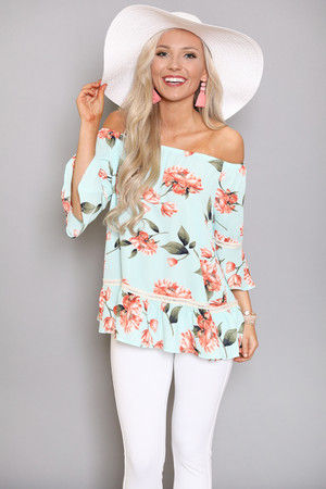 Easy Kind Of Love Floral Blouse Mint