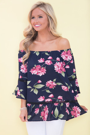 Easy Kind Of Love Floral Blouse Navy