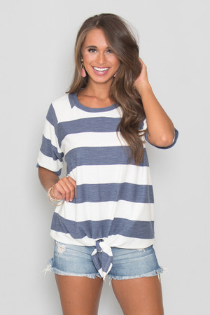 Run To The Ocean Striped Blouse Navy