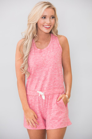 Beach Days Forever Romper Faded Pink