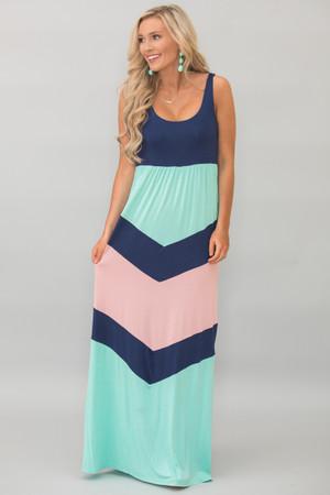 Perfect Harmony Maxi Dress Navy and Rose