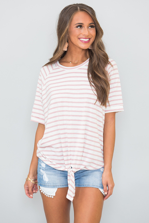 The Best Of My Love Striped Blouse Pink