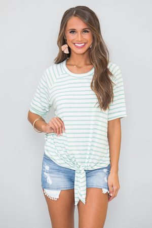 The Best Of My Love Striped Blouse Mint