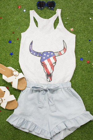 Bull Skull Flag Graphic Tank