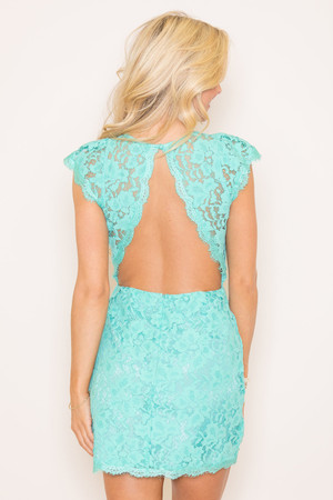Forever Divine Mint Lace Dress