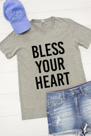 Bless Your Heart V-Neck Graphic Tee