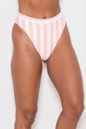 Marvelous Summer Swimsuit Striped Bottoms Peach